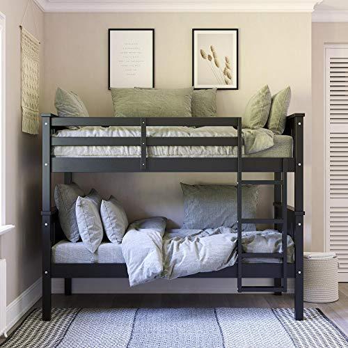 Dorel Living Dylan Twin Wood Bed for Kids, Black Bunk