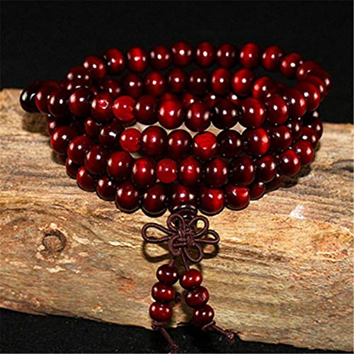 Heng 108 Cuentas de Madera Pulsera de Loto Budista Tibetano Mala Buda Charm Rosario Pulsera Yoga Madera para Mujeres Hombres Joyería, Rojo Oscuro