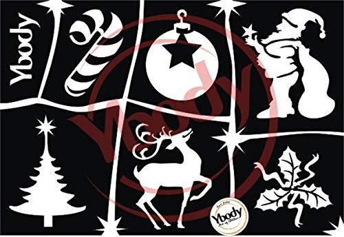 Ybody Glitzertattoos Glitzer Tattoo Schablonen Set Weihnachtszauber