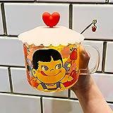 UKKO Tazas Leche Sencilla Y Encantadora Sonriente Hermana Vidrio De Dibujos Animados Taza Desayuno Taza Muchacha Corazón Fresa Bebida Taza Taza A Prueba De Calor