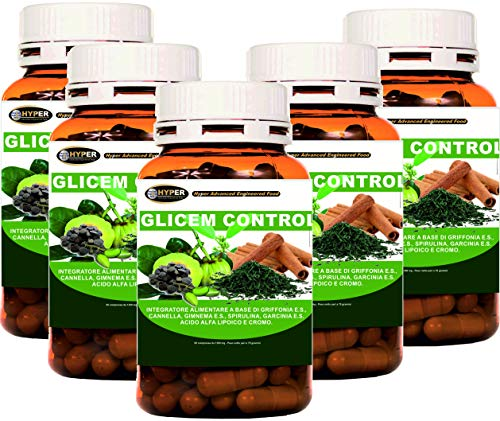 Glicem Control 5 Box con griffonia Canela Gymnema Spirulina Garcinia Ácido Alfa Lipoyco Cromo Nivel de Glicemia Metabolismo