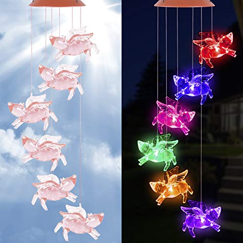 Solar Fly Pigs Wind Chimes Outdoor Waterproof Mobile Pig flying Wind Chime, LED Color Changing Solar Powered Pigs Wind Chime Lights for Home, Yard, Night Garden, Party, Valentines Gift, Festival Decor