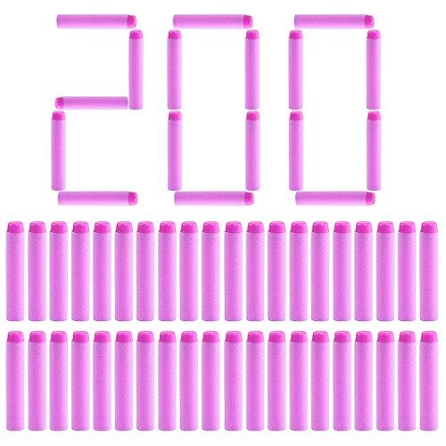 Batop 200 Stück Pfeile Dart Nachfüllpack für Nerf Rebelle / Nerf Fortnite (Rosa)