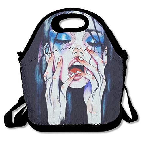 Boys Girls Goth Gotik Gothic Melancholy Women Girl Art Lunch Box Container for School Work Office Outdoor Picnic Meal Prep, Quick and Simple Organization Crossbody Bag Leakproof Handbag