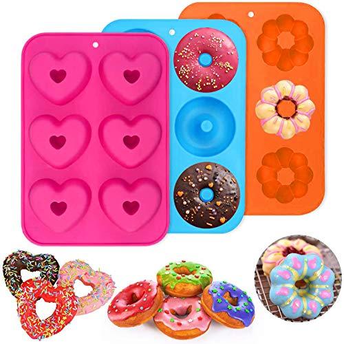 PHOGARY Packung mit 3 Stück Silikon Donutformen, 6 Hohlräume Donut-Backform Antihaft-Backblech, 260℃ Hitzebeständig, für Kuchen, Kekse, Bagels, Muffins (Farbe2)