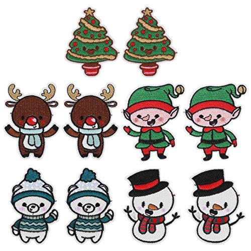 """SOIMISS 10 parches para coser con la frase """"Feliz Navidad"""", parches bordados, apliques para chaquetas, mochilas, camisetas, vaqueros, coser."""