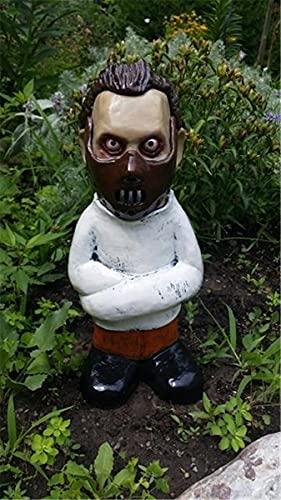 Horrorfilm Gartenzwerge, Albtraum Horror Gnom, Killer Gartenzwerg, gruselige untote Halloween-Skulptur Kampf Gnom Statue für Outdoor Garden Patio (Der Doktor)
