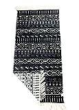 Alfombra de pasillo con flecos y patrón reversible retro boho étnico marroquí berber lavable Vintage Modelo Djerba (negro/crudo), 135 x 65 cm (negro/crudo)