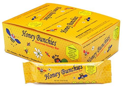 Honey Bunchies Gourmet Honey Bar (20 Pack, 1.9 Oz. per Bar) All-Natural Honey Peanut Pecan Snack Bar for Long-Lasting Energy & Nutrition - Gluten-Free, Grain-Free & Soy-Free