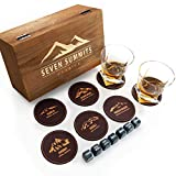 The Ultimate Whiskey Glass Set - Seven Summits Whiskey Stones with Set of 2 Whiskey Glasses, Luxury Wood Box & 7 Coasters. Bourbon Stones Set for Chilling Whisky or Scotch