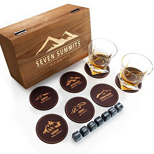Ultimate Whiskey Geschenkset für Männer, die alles haben - The Seven Summits Whiskey Stones mit 2 Whiskey Gläsern, Luxus-Holzbox & 7 Untersetzern Bourbon Stones Set zum Kühlen von Whisky oder Scotch