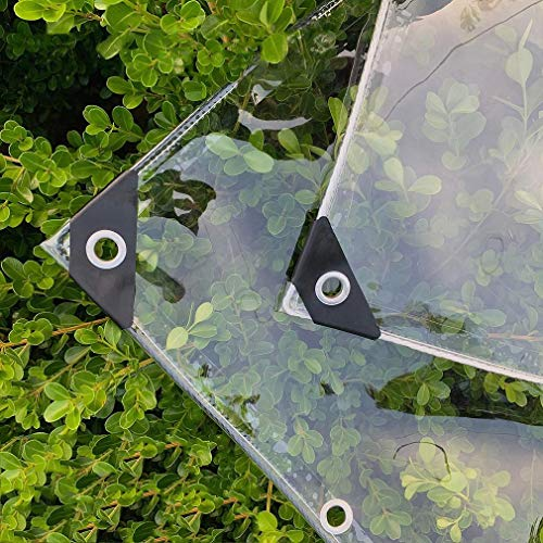0.55mm Clear Tarpaulin with Eyelets,Outdoor Shade Awning Cloth,PVC Glass See Through Sheet Tarp,Heavy Duty Waterproof,Dustproof,Windproof,Rainproof,Tear-Resistant,Customizable(1.8x4m/5.9x13.1ft)