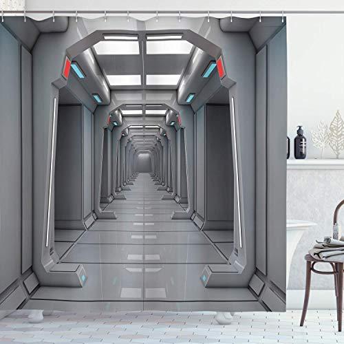 EdCott Weltraum Dekorativer Duschvorhang Empire Space Shuttle Orbit UFO Kontrollbüro Mars Mission Force Foto Dekorativer Raum Wasserdichter Duschvorhang Silbergrau