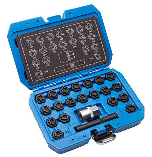 22 TLG Felgenschloss Radbolzen Knacker Demontage Werkzeug Schlüssel Set