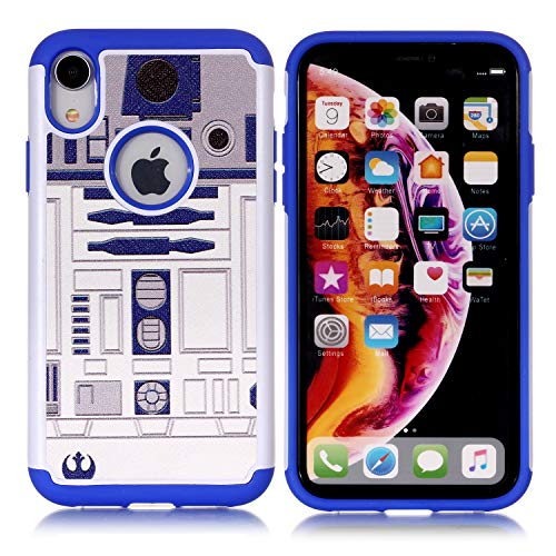Sunshine_Tech iPhone XR Case - R2D2 Astromech Droid Robot Pattern Shock-Absorption Hard PC and Inner Silicone Hybrid Dual Layer Armor Defender Protective Case Cover for Apple iPhone Xr 6.1 inch(2018)