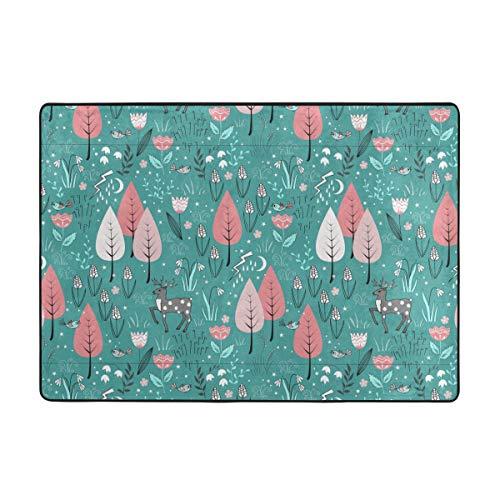 Patrón de primavera con flores de ciervo para el dormitorio, cómoda alfombra de interior moderna de piel para niños y niñas, sala de estar y guardería, decoración de 80 x 58 pulgadas