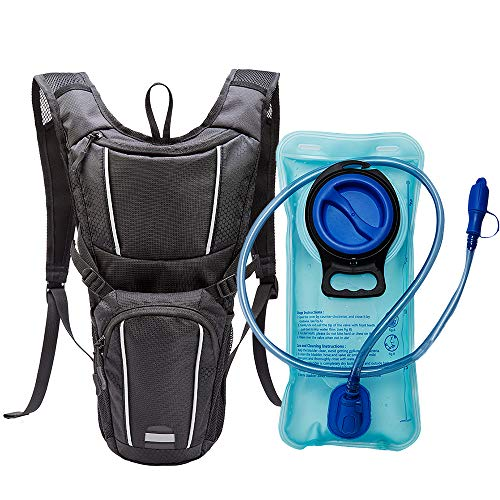 Hydration Pack, Lightweight Hydration Backpack with 2L Water Bladder, Hiking Backpack for Running Biking Cycling Climbing Fits Men, Women & Kids