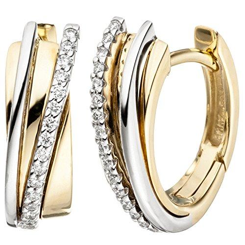 JOBO Creolen 585 Gold Gelbgold Weißgold bicolor 32 Diamanten Brillanten Ohrringe