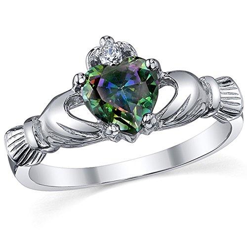 Ultimate Metals Co. Damen Sterling Silber 925 Claddagh Ring Mit Regenbogen Topas Herz Zirkonia Bequemlichkeit Passen,Größe 57