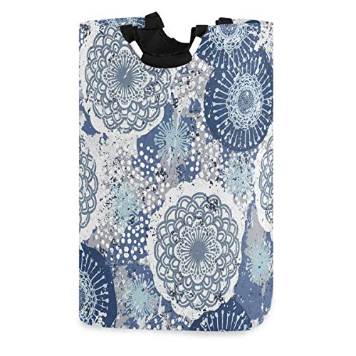 Lsjuee Floral Grunge Boho Print Ethnic Blue Laudry Basket,Waterproof and Foldable Laundry Hamper for Storage Dirty Clothes Toys in Bedroom, Bathroom Dorm Room