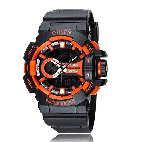 UKCOCO OHSEN AD1505 Wasserdichte Männer Jungen Dual Time Display LED Digital Quarz Sportuhr mit Stoppuhr/Datum / Alarm/EL-Hintergrundbeleuchtung (Orange)