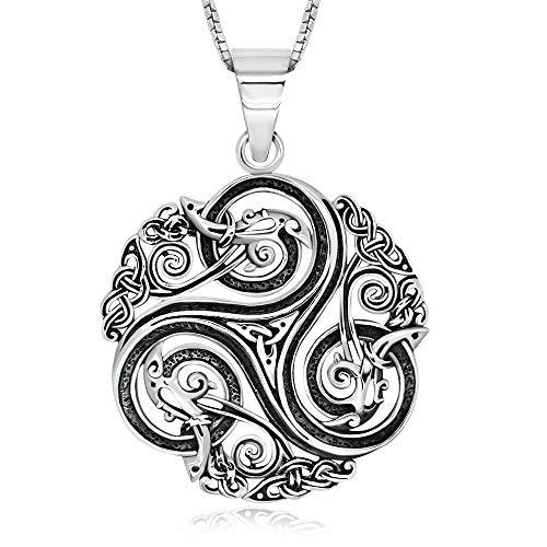 925 Sterling Silver Triskele Celtic Triple Spiral Triskelion Pendant Necklace 18' for Women, Teen