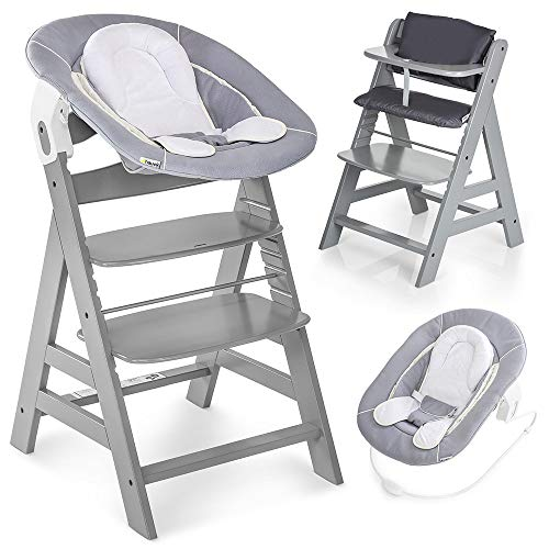 Hauck Alpha Plus Newborn Set - Trona de madera evolutiva bebés, incluye hamaca para recién nacidos, cojín gratis, altura regulable - color gris