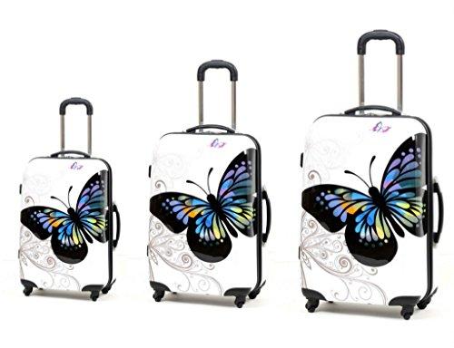 Set de 3 maletas Mariposas Blanca