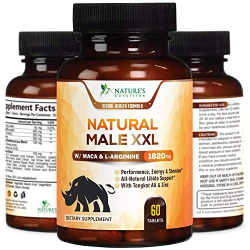Natural Male XXL Capsules Natural Stamina, Strength & Mood - Extra Strength Energy Support - Made in USA - Prime Performance Endurance Supplement for Men - 60 Capsules
