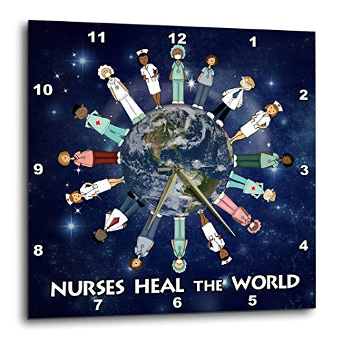 3dRose Nurses Heal The World Planet Earth with Male and Female Nurses of All Cultures Circling The Globe - Wall Clock, 10 by 10-Inch (DPP_79459_1)