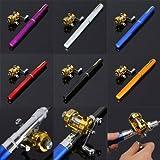 Mini tragbares Angelrute Tasche Angeln Set verschiedene Farben -