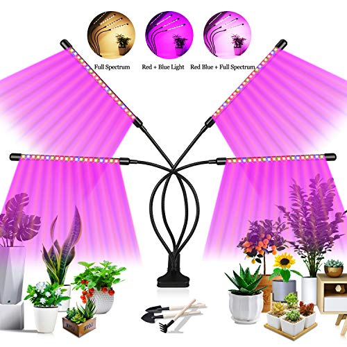 Grow Light, 4 Head Plant Grow Lights for Indoor Plants Full Spectrum, Led Plant Light Grow Lamp with Auto 3/9/12H Timer, 3 Lighting Modes, 10 Level Brightness for Indoor Plants Succulent Veg Flower