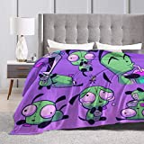 Jasongamo Classic-Invader-Zim-Gir Ultra-Soft Throw Blanket Flannel Light Weight Fuzzy Warm Throws for Winter Bedding, Couch, Sofa and Gift 50' X40