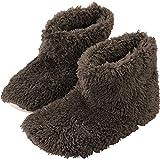 アイリスプラザ ルームブーツ Mサイズ 約 22.5 ~ 24cm ルームシューズ スリッパ もこもこ マイクロミンクファー ふわふわな肌触り 暖房対策 秋冬 洗える 無地 ブラウン