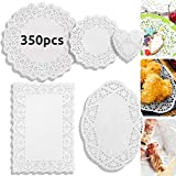 DailyTreasures 350Pcs Lace Doilies Paper-Assorted Size Decorative Doilies Placemat- Eco-Friendly for Cake, Desert, Wedding, Tableware Decoration(Round, Rectangle, Heart, Oval-8.5',6.5')