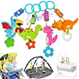 gebra Dinosaur Car Seat Stroller Crib Baby Infant Hanging Toys for 3 6 9 12 Months, Soft Rattle Squeaky Wind Chime Sensory Learning Toys with Bright Color for Infants Babies