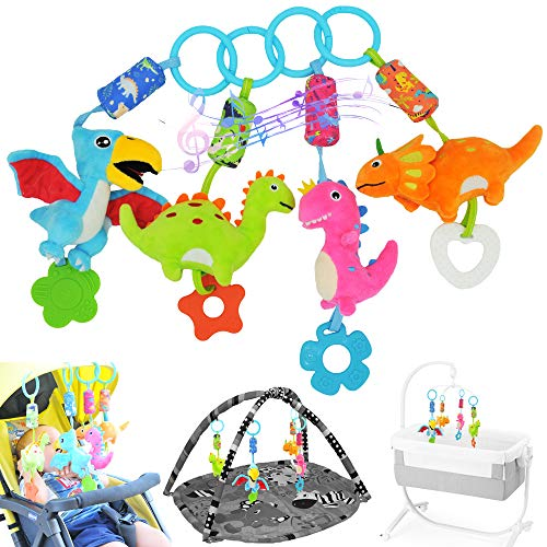 gebra Dinosaur Car Seat Stroller Crib Baby Infant Hanging Toys for 0 3 6 9 12 Months, Soft Rattle Squeaky Wind Chime Sensory Learning Toys with Bright Color for Infants Babies