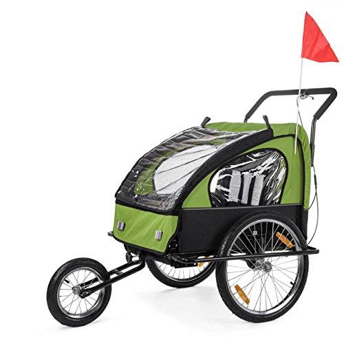 SAMAX Fahrradanhänger Jogger 2in1 Kinderanhänger Kinderfahrradanhänger Transportwagen gefederte Hinterachse für 2 Kinder in Grün/Schwarz neu - Black Frame