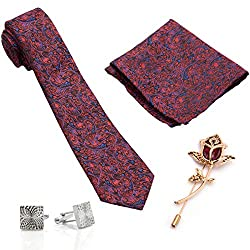 To The Nines Mens Tie, Pocket Square & Cuff links Set and Lapel Pin, Gift Pack for Him