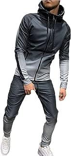 Men Gradient Color High Neck Hip Hop Hooded Sweatshirt+Pants Sets Tracksuit Red Small