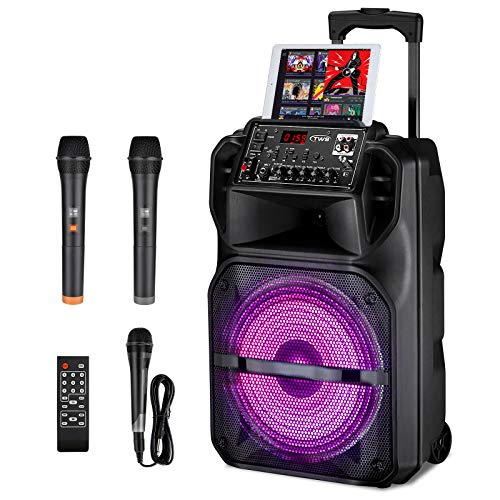 Karaoke Machine for Kids with 3 Karaoke Microphones, SEAPHY Dazzling DJ Light 12'' Sub-woofer BT Connectivity Portable PA Speaker System Bonus 2 Wireless Microphone/1 Corded Mic/Remote, Gift For Kids