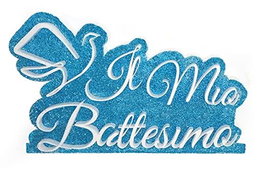 """Scritta in Polistirolo""""Il Mio Battesimo"""" con base - 40 cm di Larghezza, 25 cm di altezza e 3 cm di spessore"""