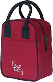EcoRight Canvas Insulated Lunch Bag for Women, Men, Kids - 5 ltrs capacity   Reusable   Washable   Ethically Manufactured - Maroon