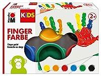 Marabu 0303000000085 - Kids Fingerfarbe Set mit 6 leuchtenden Farben a 35ml, parabenfrei, vegan, laktosefrei, glutenfrei, geeignet zum Malen in Kindergarten, Schule, Therapie und zu Hause