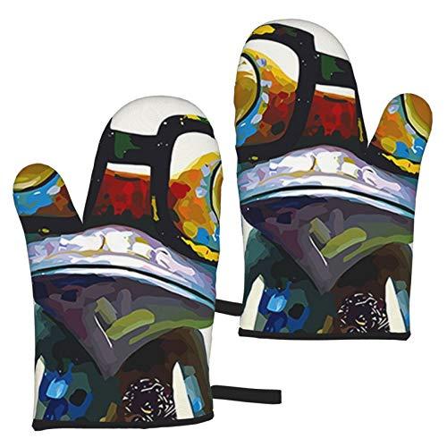 ZGPOJNDKI Forg con gafas grandes, guantes de horno impermeables, antideslizantes, resistentes al calor, juegos de 2 para cocina, hornear, parrilla, barbacoa, decoración del hogar