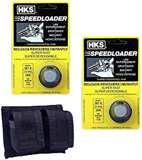 2-Pack 587-A Speed Loader for 357 Magnum Plus HKS Belt Pouch Holster for Smith and Wesson Model 686 and Taurus Models 617/817/827/66 Plus Free Sample of Patches