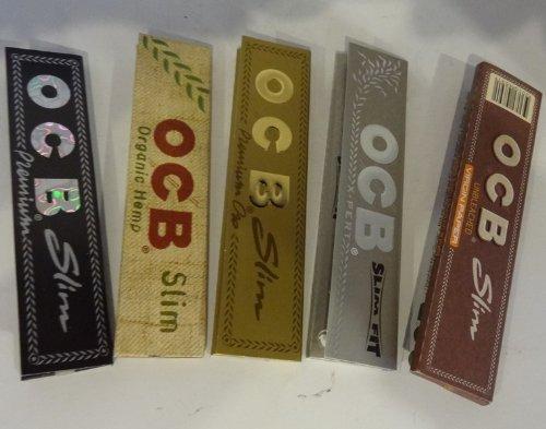 OCB King Size Slim Rolling Papers - 1 Boekje van Premium, 1 Boekje van Organic, 1 Boekje van Goud, 1 Boekje van X-Pert en 1 Boekje van Bruine Virgin - 5 Boekjes in totaal door Trendz