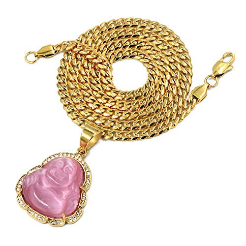 Raonhazae Stainless Steel Gold Iced Smiling Chubby Buddha (Pink Jade) Pendant w/Cuban Chain