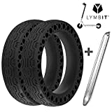 Lymbit 2pcs Neumático sólido Antideslizante reemplazo para Ruedas Llanta De Patinete Scooter eléctrico Xiaomi M365