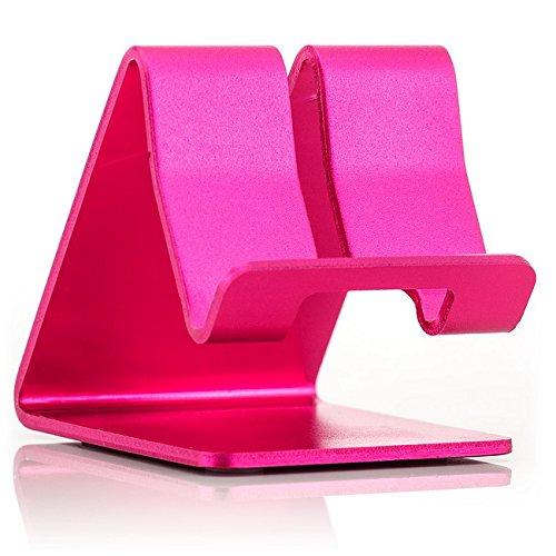 Saxonia Supporto in Alluminio Stand da tavolo Holder per Smartphone Tablet ebook Reader Pink